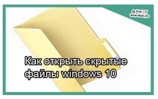 Как открыть скрытые файлы windows 10