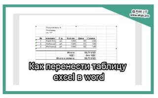 Как вставить таблицу из excel в word